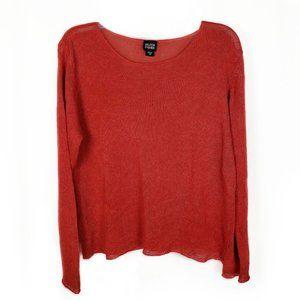 Eileen Fisher 100% linen orange pullover sweater M